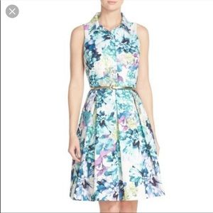 Eliza J Faille Floral Shirtdress Purple and Teal